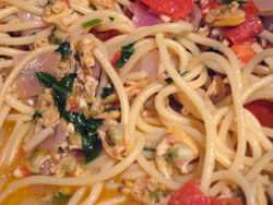 spaghetti with clam sauce from eating well recipe